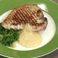 grilled pork chop with apple sauce